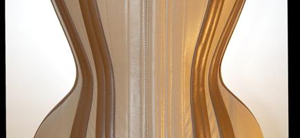 Beige and tan leather redresseur corset with hidden zipper closure- 2011