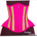 Fuchsia silk and gold satin underbust corset with hidden zipper closure and natural cotton lacing - 2011.