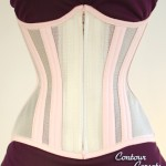 Petite underbust summertime corset in shimmery Pearl polyester mesh and powder pink cotton twill. - 2011